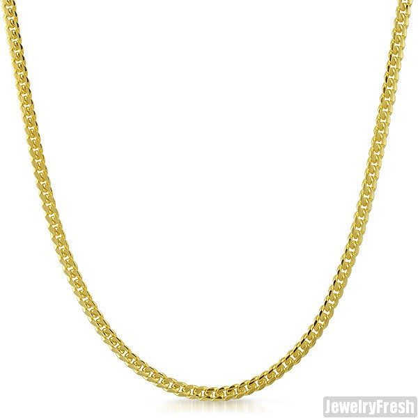 3mm 14k Gold Dipped 925 Silver Miami Cuban Chain