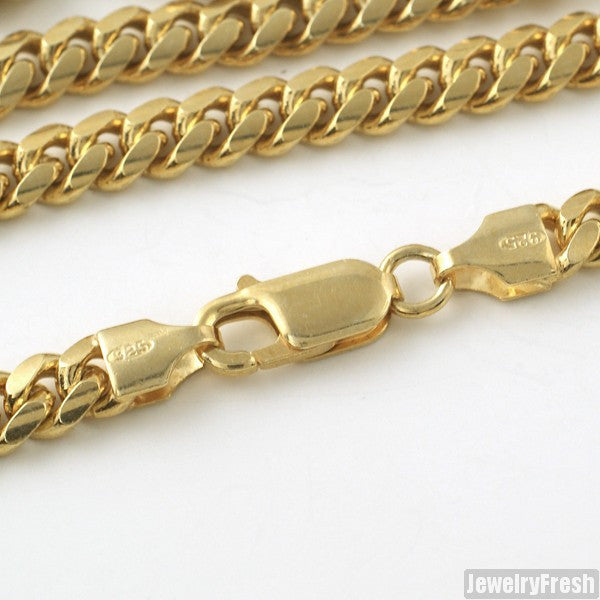 6mm 14k Gold Dipped 925 Silver Miami Cuban Chain