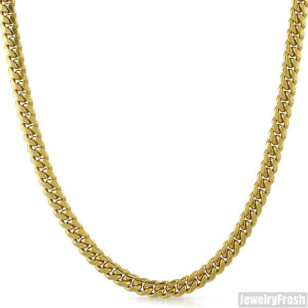 5mm 14k Gold Dipped 925 Silver Miami Cuban Chain