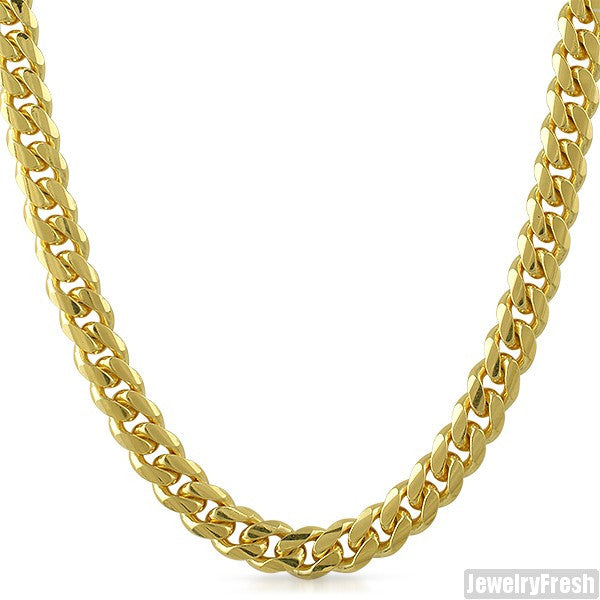 8mm 14k Gold Dipped 925 Silver Large Cuban Chain