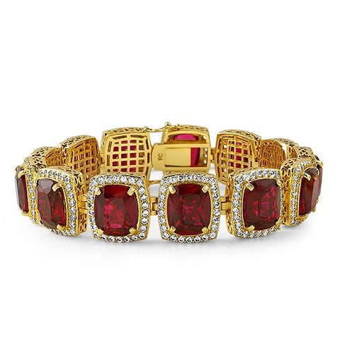 18K Gold Finish Synthetic Ruby Bracelet
