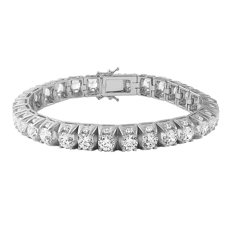 White Gold 3D Iced Out Tennis Bracelet