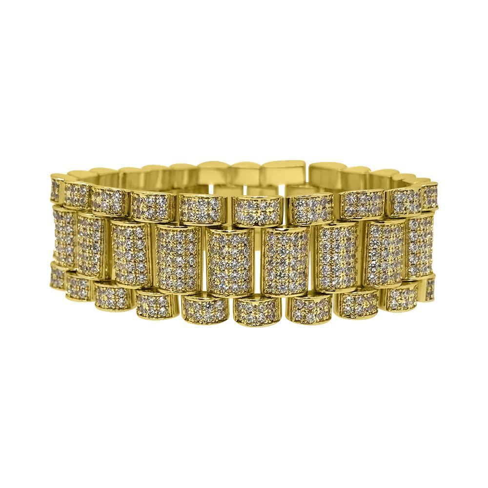 Gold 22mm Iced Out CZ President Bracelet