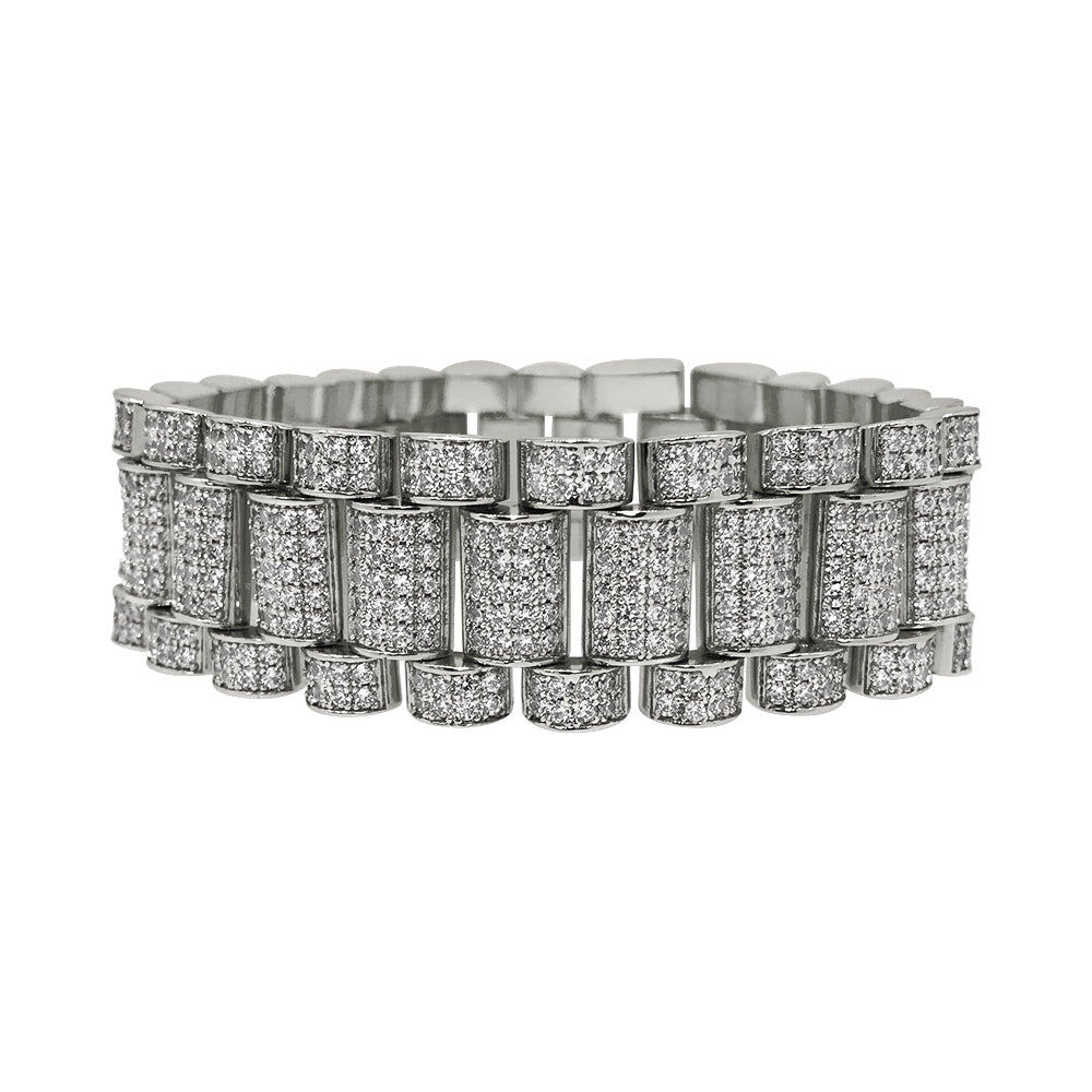Silver 22mm Iced Out CZ President Bracelet