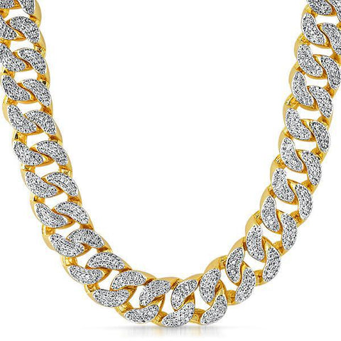 22mm Gold Crushed Out Miami Cuban Chain