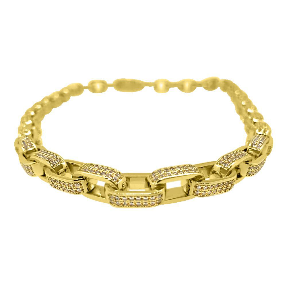 18K Gold 3D Fully Iced CZ Box Link Chain