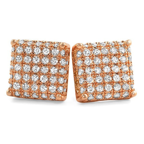 Rose Gold Finish 3D Iced Out CZ Square Mens Earrings