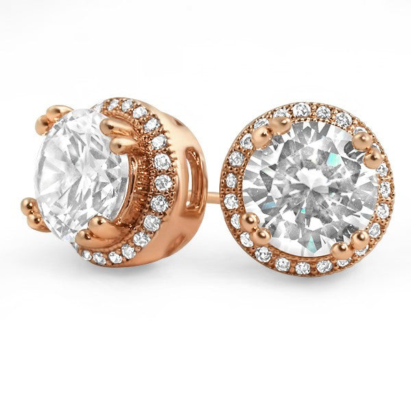 Rose Gold Big Stone Simulated Diamond Earrings