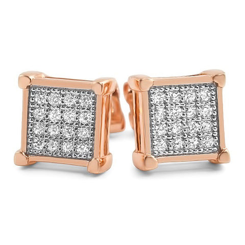 14k Rose Gold Finish Micro Pave CZ Square Earrings