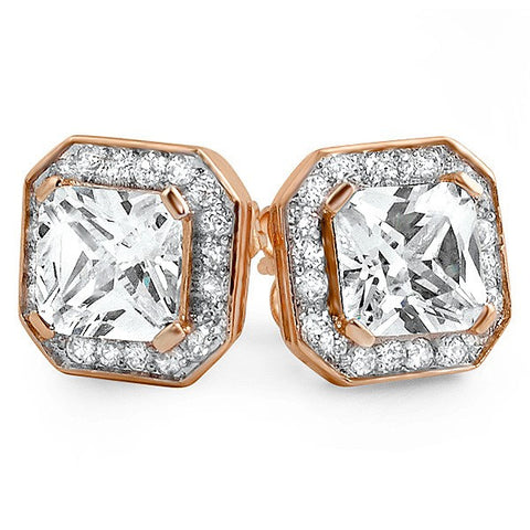 Rose Gold Big Stone Princess Cut 3.5 Carat Earrings