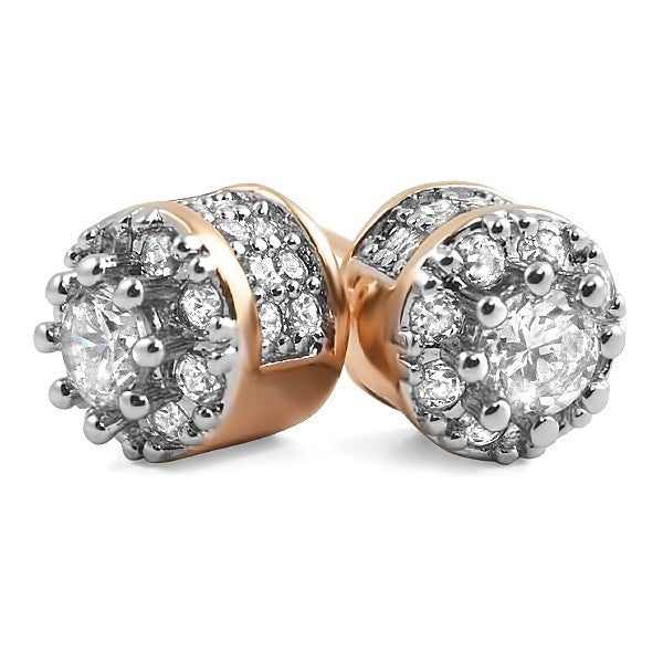 Rose Gold Fancy 3D Cluster VVS Flawless Earrings