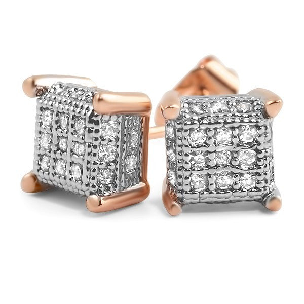 Small 360 Cube Micropave CZ Earrings Rose Gold