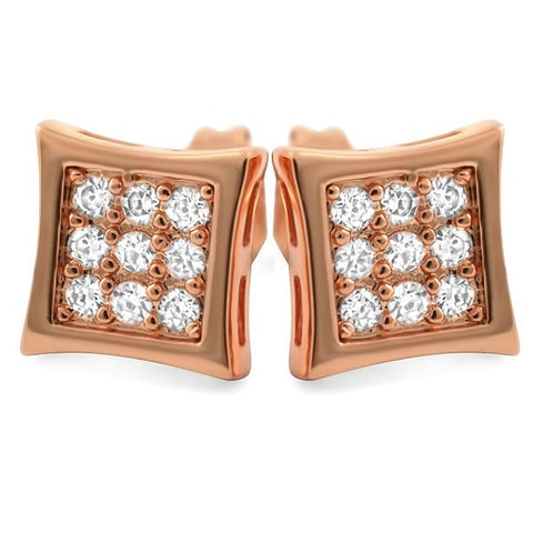 Rose Gold Finish 18 Stone CZ Kite Earrings