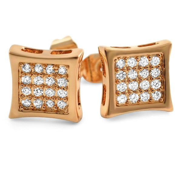 Rose Gold 32 Stone CZ Prong Set Kite Earrings