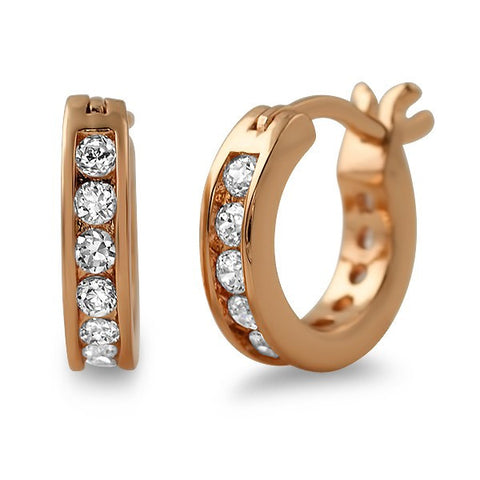 Rose Gold Finish Iced CZ Mini Hoop Earrings for Men