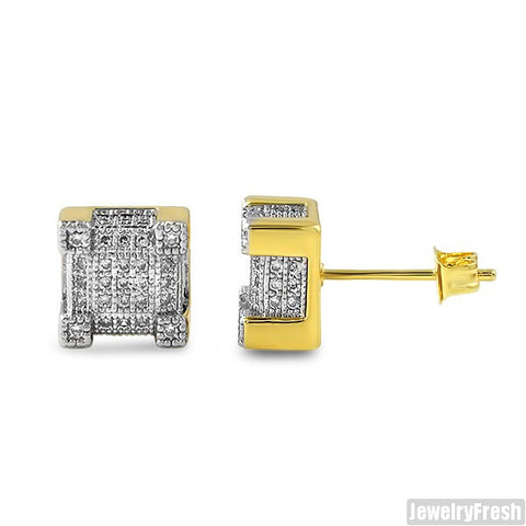Gold Iced Out CZ Cube Earrings
