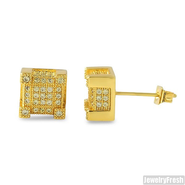 Gold Canary Iced Out CZ Cube Earrings