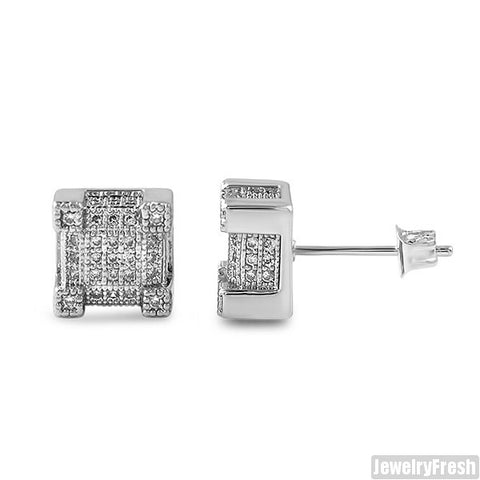 Silver Iced Out CZ Cube Earrings