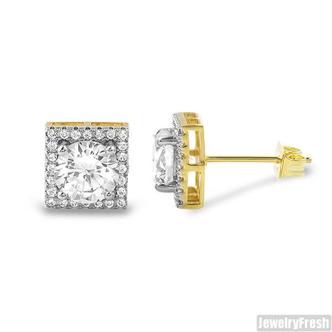 9mm Square Halo Gold CZ Stud Earrings