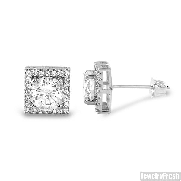 9mm Square Halo Silver CZ Stud Earrings