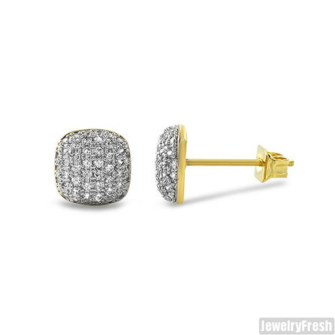 Small Gold Micropave CZ Cushion Earrings