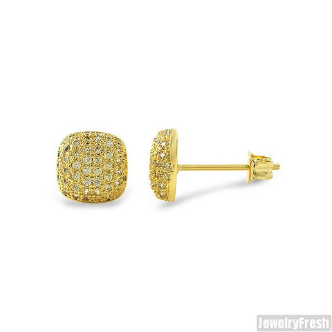 Small Canary Micropave CZ Cushion Earrings
