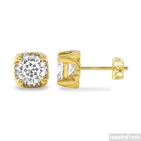 1.60 Carat 3D Prong Gold Stud Earrings