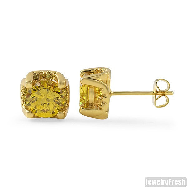 1.60 Carat 3D Prong Canary Stud Earrings