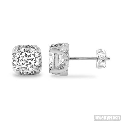 1.60 Carat 3D Prong Rhodium Stud Earrings