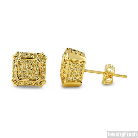 Canary Gold CZ Octagon Cube Earrings