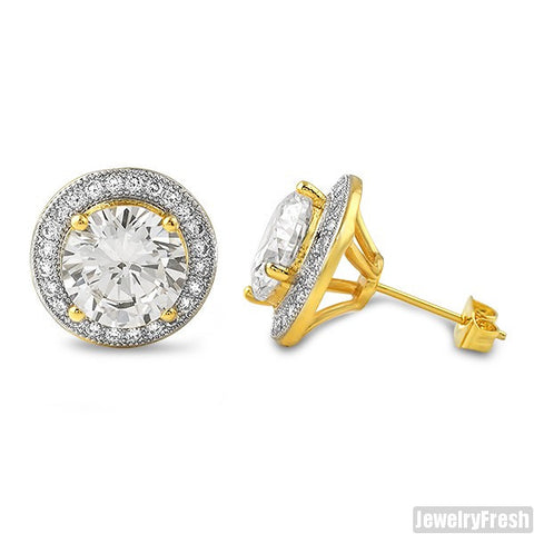 Gold XL 3.5 Carat CZ Halo Earrings