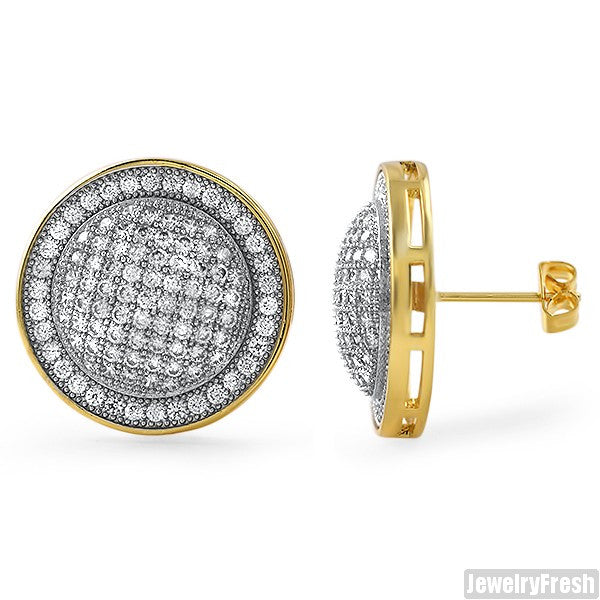14K Gold Tone Jumbo CZ Domed Mens Earrings