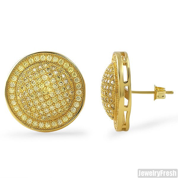 Gold Canary Jumbo CZ Domed Mens Earrings