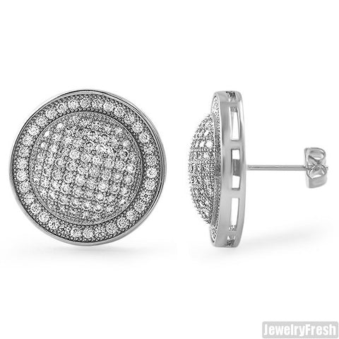 Silver Tone Jumbo Domed CZ Earrings