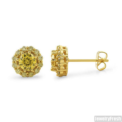 Gold Canary 1.70 Carat Halo Stud Earrings