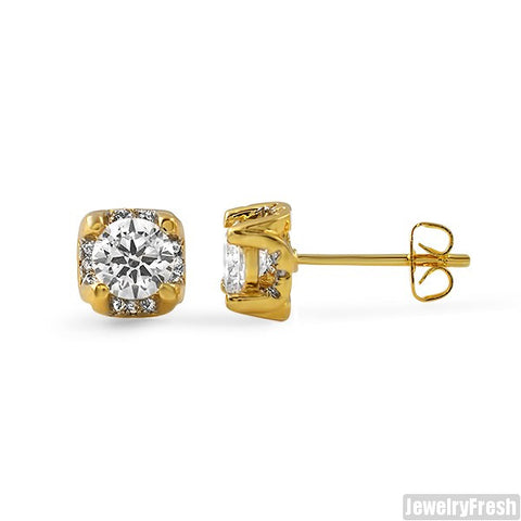 6mm Gold CZ 3D Prong Stud Earrings