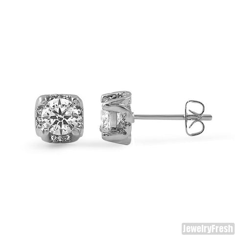 6mm Silver CZ 3D Prong Stud Earrings