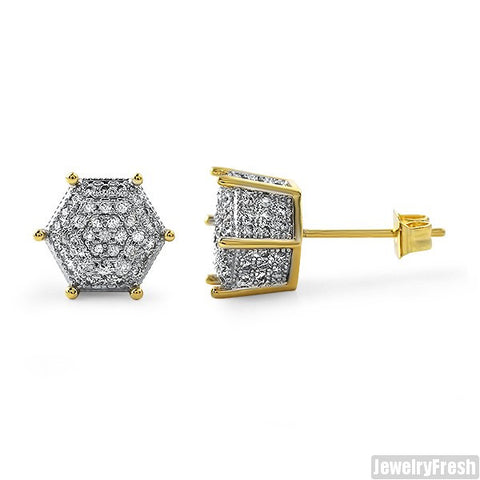 9mm Gold 3D Polygon Pave CZ Earrings
