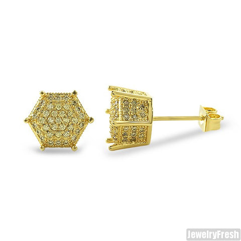9mm Canary 3D Polygon Pave CZ Earrings
