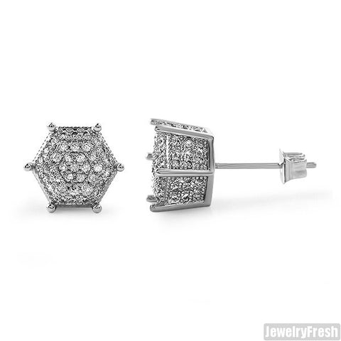 9mm Silver 3D Polygon Pave CZ Earrings