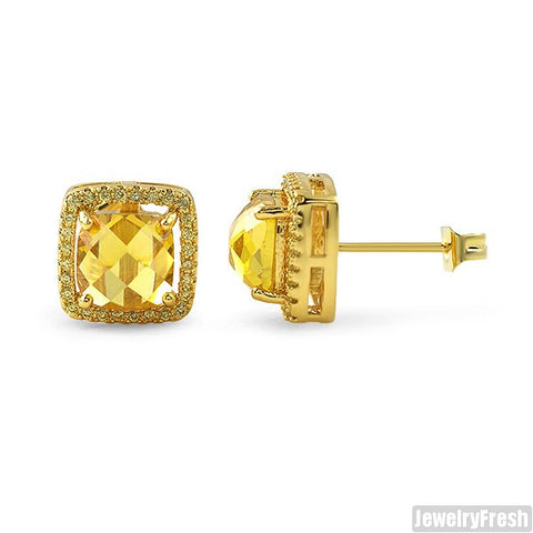 Canary Rose Cut Halo CZ Gold Earrings