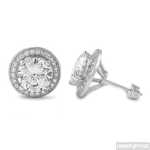 Silver XL 3.5 Carat CZ Halo Earrings