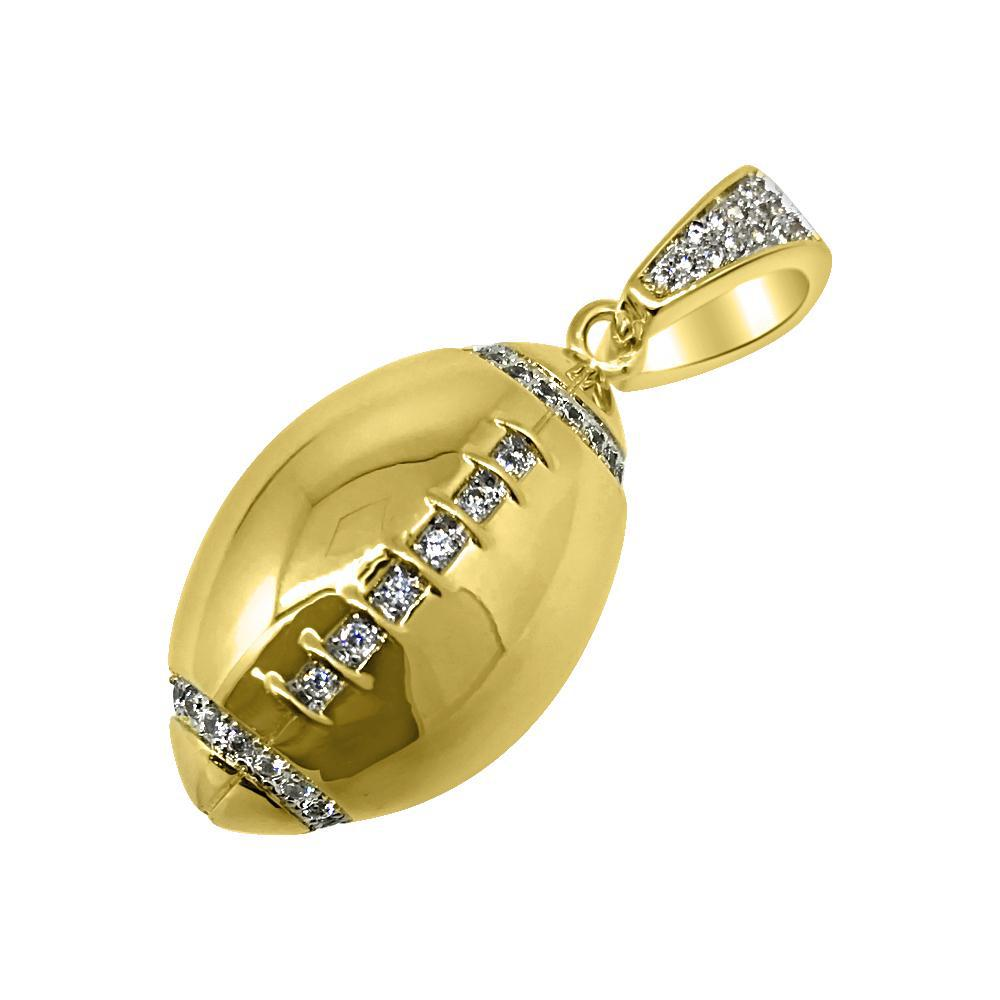 Gold 3D Football Stone Trimmed Pendant