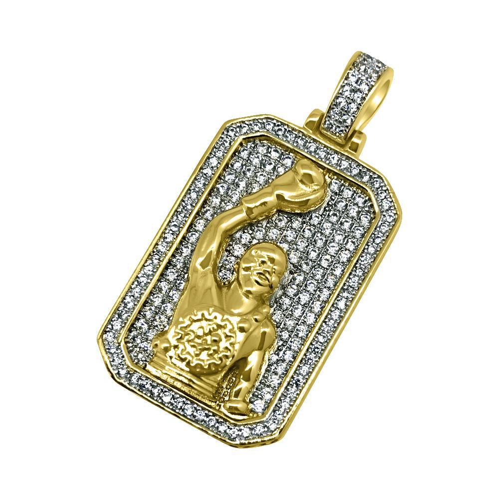 Gold Iced Out Boxing Champ Pendant
