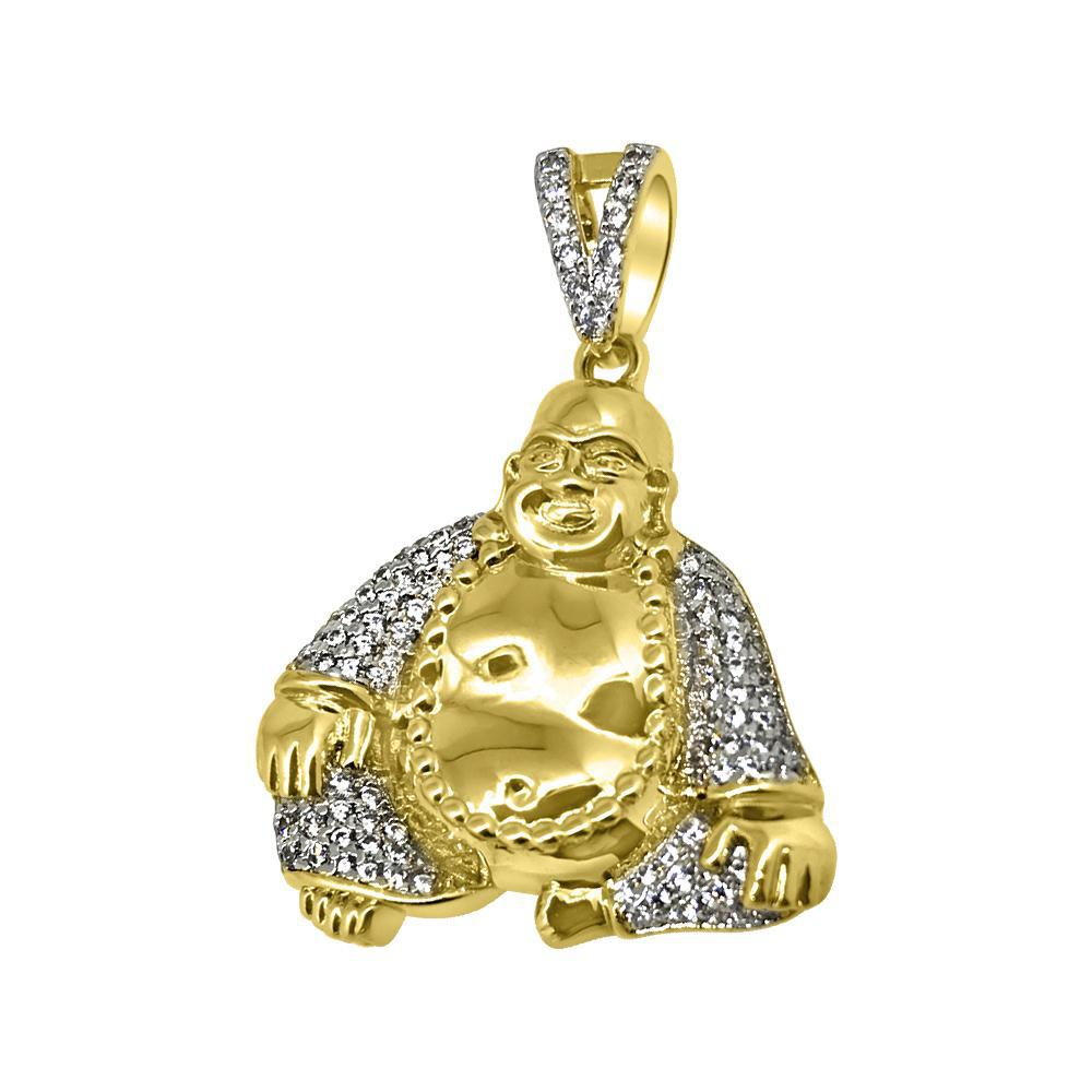 Gold Mini Sitting Buddha Iced Out Pendant