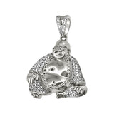 Rhodium Mini Sitting Buddha Iced Out Pendant