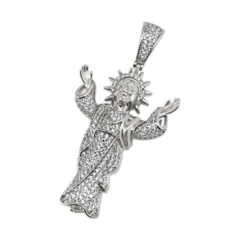 Rhodium Open Arms Jesus Iced Out Pendant