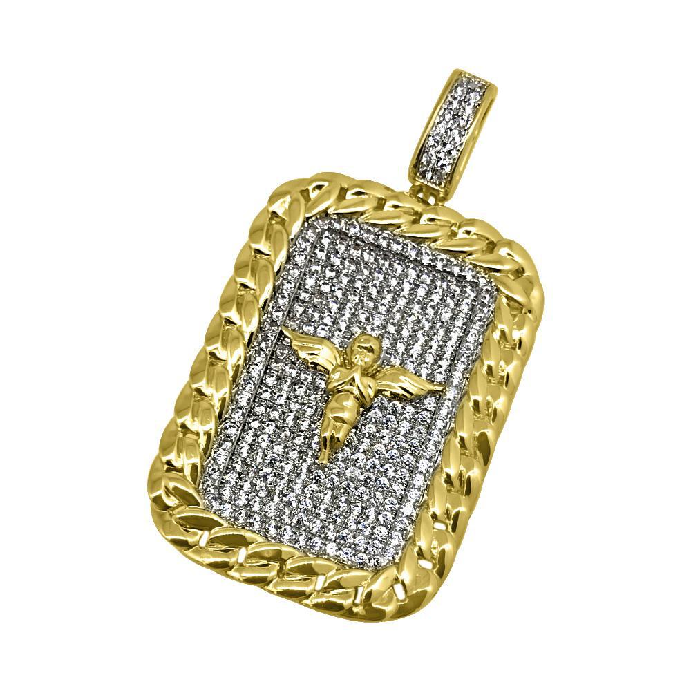 Gold Cuban Border Angel Dogtag Pendant