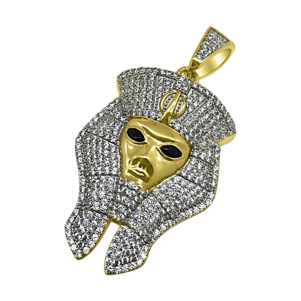Gold Ancient Pharoah Iced Out Pendant