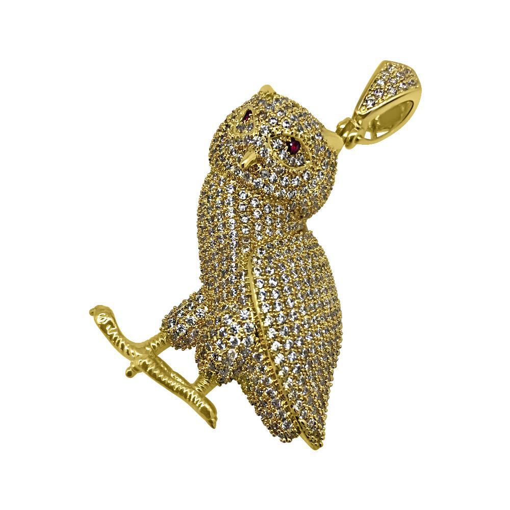 Gold 3D Fully Iced Out Owl Pendant